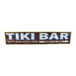 Wooden Happy Hour, Every Hour Tiki Bar Sign - This sign advertises a tiki bar, where it`s happy hour every hour, and it`s always open! It measures 28 3/4 inches long, 5 1/2 inches tall, and 3/4 of an inch thick. It easily mounts to the wall with a single nail or screw, and is a wonderful addition to your home, bar, or restaurant. This sign is proudly hand crafted in the U.S.A.