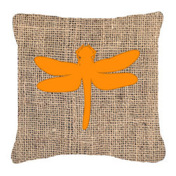 Caroline's Treasures - Dragonfly Burlap and Orange Fabric Decorative Pillow Bb1062 - Indoor or Outdoor Pillow made of a heavyweight Canvas. Has the feel of Sunbrella Fabric. 14 inch x 14 inch 100% Polyester Fabric pillow Sham with pillow form. This pillow is made from our new canvas type fabric can be used Indoor or outdoor. Fade resistant, stain resistant and Machine washable.