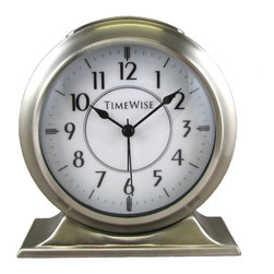 Timewise Clocks - Alarm Clock - Collegiate Metal Alarm Clock Brushed Nickel - Solid Metal retro clock case with glass lens