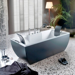 WS Bath Collections - Kali Yellow Free Standing Bathtub - Kali Color Free Standing Bathtub in Black, Free Standing Bathtub Acrylic Inside, Colored Outside Available in Many DIfferent Colors, Please Call to Inquire For Custom Designs  Measurements, Please Call Us Optional Headrest, with Stainless Steel Support, Made in Italy