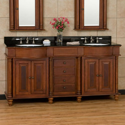 """72"""" George Washington Brown Cherry Double Vanity - This 72"""" vanity features matching porcelain sinks, full round pilasters and curved, fluted crowns that combine to make this an elegant choice for your master suite or guest bath."""