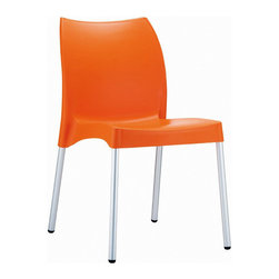 Compamia - Vita Resin Outdoor Dining Chair Orange - Set of 2 - Vita resin indoor outdoor dining chair. Made from commercial grade resin with rust free aluminum legs. Great for outdoor spaces, patios and decks. Used by restaurants, cafes and hotels. Legs are anodized aluminum. Color orange.