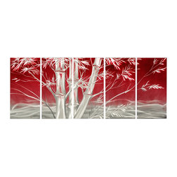 Matthew's Art Gallery - Metal Wall Art Landscape Modern Sculpture Red Bamboo Trees - Name: Bamboo Trees