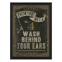 The Artwork Factory - House Rule No 4 Framed Artwork - Ready-to-Hang, 100% Made in the USA, museum quality framed artwork
