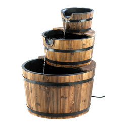 KOOLEKOO - Outdoor Apple Barrel Water Fountain - Sparkling waterfalls cascade from spout to spout down the faces of three stacked bushel baskets. This generously sized fountain with genuine wood trim adds bountiful rustic flair to your outdoor surroundings!