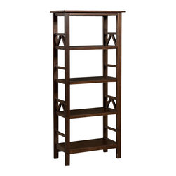 Linon - Linon Titian Bookcase in Antique Tobacco - Linon - Bookcases - 86150ATOB01KDU - The Titian Collection has a simple yet eye catching design that is matched with incredible durability. The Bookcase features four shelves that provide ample storage and display space. A neutral classic Antique Tobacco finish allows this piece to easily complement your homes decor.
