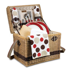 Picnic time - Yellowstone Willow- Moka Collection - This exquisitely handcrafted picnic basket was designed with romance in mind. The Yellowstone-Moka is made of dark rattan with premium leatherette accents and fully-lined with durable beige PE (polyethylene). Deluxe picnic service for two includes the items listed below. It's ideal for any gift-giving occasion! Features: