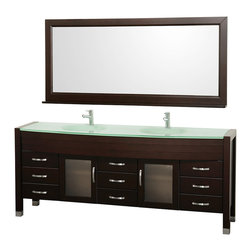 Wyndham Collection - 77.88 in. Contemporary Bathroom Vanity Set - Includes two sinks, green glass top, matching mirror, drain and P-traps for easy assembly. Faucets not included. Green integral sinks. Unique and striking contemporary design. Two doors and nine drawers. Fully extending side-mount drawer slides. Deep doweled drawers. Doors with fully framed glass inserts and back paneling. Soft-close concealed door hinges. Single-hole faucet mount. Metal hardware with brushed chrome finish. Plenty of storage space. Brushed steel leg accents. Practical floor-standing design. Twelve-stage wood preparation, sanding, painting and finishing process. Highly water-resistant low V.O.C. sealed finish. Pre-drilled for single-hole faucet. Top thickness: 0.75 in.. Warranty: Two years limited. Made from environmentally friendly, zero emissions solid oak hardwood. Espresso finish. Minimal assembly required. Door: 14.75 in. W x 18.25 in. H. Drawer: 14.75 in. W x 6 in. H. Mirror shelf: 5 in. deep. Mirror: 70.75 in. W x 32 in. H (65 lbs.). Vanity: 77.88 in. W x 21.63 in. D x 33.5 in. H (226 lbs.). Handling Instructions. Installation Instructions - Vanity