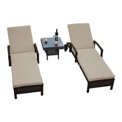Reef Rattan - Reef Rattan 3 Pc Islander Chaise Lounger Set Chocolate Rattan / Beige Cushions - Reef Rattan 3 Pc Islander Chaise Lounger Set Chocolate Rattan / Beige Cushions. This patio set is made from all-weather resin wicker and produced to fulfill your needs for high quality. The resin wicker in this patio set won't fade, shrink, lose its strength, or snap. UV resistant and water resistant, this patio set is durable and easy to maintain. A rust-free powder-coated aluminum frame provides strength to withstand years of use. Sunbrella fabrics on patio furniture lends you the sophistication of a five star hotel, right in your outdoor living space, featuring industry leading Sunbrella fabrics. Designed to reflect that ultra-chic look, and with superior resistance to the elements in a variety of climates, the series stands for comfort, class, and constancy. Recreating the poolside high end feel of an upmarket hotel for outdoor living in a residence or commercial space is easy with this patio furniture. After all, you want a set of patio furniture that's going to look great, and do so for the long-term. The canvas-like fabrics which are designed by Sunbrella utilize the latest synthetic fiber technology are engineered to resist stains and UV fading. This is patio furniture that is made to endure, along with the classic look they represent. When you're creating a comfortable and stylish outdoor room, you're looking for the best quality at a price that makes sense. Resin wicker looks like natural wicker but is made of synthetic polyethylene fiber. Resin wicker is durable & easy to maintain and resistant against the elements. UV Resistant Wicker. Welded aluminum frame is nearly in-destructible and rust free. Stain resistant sunbrella cushions are double-stitched for strength and are fully machine washable. Removable covers made with commercial grade zippers. Tables include tempered glass top. 5 year warranty on this product. PLEASE NOTE: Throw pillows are NOT included. Ch