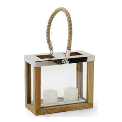"Avon Lantern - This Avon Lantern will make for a splendid and sublime gift to an old friend. It will easily hold any of your two favorite massive candles. It""s formulated with wood, brass and rope. It has a polished nickel finish and the rope handle makes it very easy to carry."