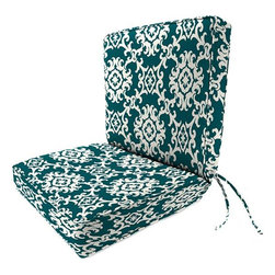 """Home Decorators Collection - Seat/Back Box-Edge Outdoor Chair Cushion - Our Seat/Back Box-Edge Outdoor Chair Cushion features double welting and a luxuriously plush foam fill. This thick 4"""" outdoor replacement cushion is available in many Sunbrella®, Outdura® and polyester fabrics that are engineered to endure the weather and resist fading, mildew and stains. Mix and match your outdoor seating with our outdoor umbrellas, curtain panels, throw pillows and poufs. Includes double welting. Includes ties. 4"""" at thickest point."""