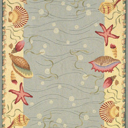 """KAS - KAS Colonial 1804 Ocean Surprise (Blue Ivory) 7'6"""" Round Rug - Our Colonial Collection of hooked wool rugs exhibits the true creativity of our designers. Originally a craft born out of necessity, hooked rugs have now become a form of art, taking shape with the talent of designers and weavers. Made in Chine, our petit point hooked rug collection contains an assortment of styles that suit a wide range of tastes. These rugs come in both classic and contemporary designs, including Savonneries, floral patterns and theme rugs. The intricate design and myriad of colors add both a lively and rich look."""
