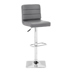 "Tosh Furniture - Elizabeth Barstool Gray - This stool is made with a chromed steel frame and leatherette wrapped seat and back cushions with adjustable height and a swivel base. Gray; Leatherette; Chromed Steel Finish; Some assembly required; Overall dimensions: 14.9""W x 16.9""L x 36~44.5""H; Seat Height: 24.4~32.7""; Seat Depth: 14.5"""
