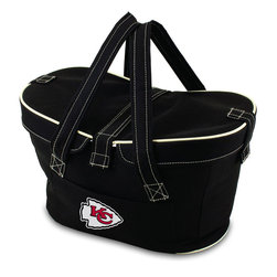 Picnic Time - Kansas City Chiefs Mercado Picnic Basket in Black - This Mercado Basket combines the fun and romance of a basket with the practicality of a lightweight canvas tote. It's made of polyester with water-resistant PEVA liner and has a fully removable lid for more versatility. Take it to the farmers market, the beach, or use it in the car for long trips. Carry food or sundries to and from home, or pack a lunch for you and your friends or family to share when you reach your destination. The Mercado is the perfect all-around soft-sided, insulated basket cooler to use when you want to transport a lunch or food items and look fashionable doing it.; Decoration: Digital Print; Includes: 1 removable canvas lid