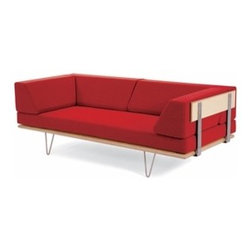 Modernica - Modernica | Case Study Daybed Couch with Leg Options - This George Nelson icon featuring thick wooden arms with exposed steel supports allows the Daybed Couch to function as a  fully supportive sofa by day. Bolsters remove easily to convert to a daybed. Select from brushed chrome-plated steel hairpin  legs or multi-ply bentwood legs. Then select wood finish and upholstery type and color.