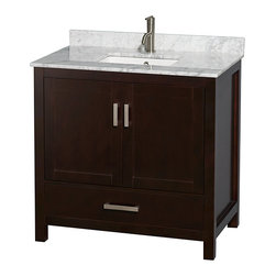 """Wyndham Collection - Sheffield 36"""" Espresso Vanity w/ White Carrera Marble & Undermount Square Sink - Distinctive styling and elegant lines come together to form a complete range of modern classics in the Sheffield Bathroom Vanity collection. Inspired by well established American standards and crafted without compromise, these vanities are designed to complement any decor, from traditional to minimalist modern. Available in multiple sizes and finishes."""