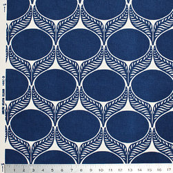 June Leaf Fabric, Navy - I love this brushed cotton canvas fabric with a graphic navy and cream flower motif. It would work well as window coverings or as upholstery for a statement chair.