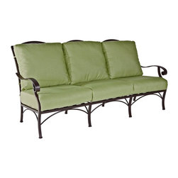 O.W. Lee - O.W. Lee Palisades Aluminum Sofa - 4695-3S-SP11-GL02A - Shop for Chairs and Sofas from Hayneedle.com! Invite a few friends over to gaze out into the distance together on an O.W. Lee Palisades Sofa. From the scenic cliffs of the New Jersey Palisades you can look out across the Hudson River all the way to the majestic New York City skyline. But you don't have to have such a sublime view in your own backyard to enjoy sitting in this elegant sofa - it has that sublimity built right in. The curving arms and back offer a naturally supportive recline that together with the deep seat and the thick cushions inspire long languid evenings full of contemplation or friendly conversation. The superior foam and fiber filled seat cushions add to this feeling of relaxation providing a softness that visually plays off the hardness of the aluminum frame just as the lower lush vegetation of the Hudson River valley meets the hard stone of the New Jersey cliffs. Meanwhile the aluminum frame is cleverly formed with sensual organic curves that add a touch of elegance to any exterior decor. Being able to choose from a wide selection of frame and fabric colors also gives you the opportunity to perfectly match your own personal tastes and the existing look of your home and yard.Materials and construction: Only the highest quality materials are used in the production of O.W. Lee Company's furniture. Carbon steel galvanized steel and 6061 alloy aluminum is meticulously chosen for superior strength as well as rust and corrosion resistance. All materials are individually measured and precision cut to ensure a smooth and accurate fit. Steel and aluminum pieces are bent into perfect shapes then hand-forged with a hammer and anvil a process unchanged since blacksmiths in the middle ages. For the optimum strength of each piece a full-circumference weld is applied wherever metal components intersect. This type of weld works to eliminate the possibility of moisture making its way into tube i