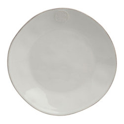 Frontgate - Forum Set of Four Dinner Plates - Each piece is stoneware with a glazed ceramic finish. Oven, freezer, microwave, and dishwasher safe. Pairs well with Forum glassware sets. Made in Portugal. Distinctive because of its hand-formed, slightly irregular shapes, the Forum Tableware Collection brings fine European design to tableware casual enough to use in your oven, microwave, and dishwasher. Artisans embellish each uniquely shaped piece with a medieval coin in relief. Enjoy handcrafted stoneware with maximum versatility. . . . .