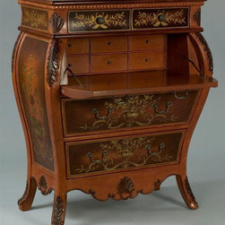 "AA Importing - Look Hand Painted Writing Desk with Flared Le - You will never mind sitting down to work at this stunning bombe shaped secretary.  Featuring intricate acanthus leaf and rope twist carvings with an incredible hand-painted finish, this piece looks like it belongs in a royal palace.  Fully functional, the drop-front door opens to reveal six interior drawers, and with four more drawers on the outside, there's plenty of room for papers and accessories.  This gorgeous chest will definitely be the focal point of any room. 2 Small lined drawers on top . 2 Large lined drawers below. Top faux large drawer is actually hinged door that opens to writing surface and 6 small lined drawers. Medium Brown finish has Dark Brown inserts on top, front and sides. With ""water"" marks, dark finish carved accents, and hand-painted Antique Gold floral and leaf design on top, front and sides. 39.5 in. L x 20 in. W x 48 in. H (190 lbs.)"