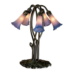Meyda Tiffany - 16.5 in. 5-Light Pond Lily Accent Lamp in Pin - Requires five 15 watt candelabra type bulbs. Mouth blown of fine art glass. Lily shades are suspended from stems delicately winding above a lily pad base in mahogany bronze. 16 in. W x 16.5 in. H. Care InstructionsOne of the most popular Louis comfort tiffany styled lamps on the market today, recreating his famous favorite design from the early 1900's. offers an attractive, delicate design. Every Meyda tiffany item is a unique, handcrafted work of art. Natural variations, in the wide array of materials that we use to create each Meyda product, make every item a masterpiece of its own.