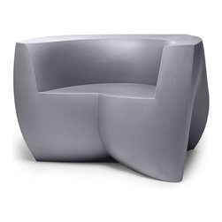 "Heller - Frank Gehry Color Easy Chair, Silver - It's easy to see why this chair has become a classic. Designed by world famous ""starchitect"" Frank Gehry, its curvy, twisty, folded form is molded from plastic in a range of candy colors. It's a great way to energize your favorite indoor or outdoor room."
