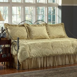 Southern Textiles Legacy Daybed Ensemble - Your daybed deserves a little elegance, so treat it to the Southern Textiles Legacy Daybed Ensemble. From the rich golden hue to the corded edges on the comforter and shams, this 100% polyester set has a treasure trove of details. The deep quilted comforter is hand-stuffed with over 16 ounces of fiberfill, while the shams feature ruffled edges and envelope closures on the backs. The full drop-on bed skirt completes the look with its regal gathered design.The Legacy Daybed Ensemble is dry clean only and comes complete with the comforter, bed skirt, and three standard-sized shams. Your daybed (and you) will love it.DimensionsThe comforter measures 97L x 55W inches.The shams are standard size of 26L x 19.5W inches.The bed skirt is 18 inches long.About Fashion Bed GroupFashion Bed Group is a Leggett and Platt Company known for its innovative fashion beds, daybeds, futons, bunk beds, bed frames, and bedding support. Created in 1991, Fashion Bed Group is a large consolidation of three leading bed manufacturers. Its beds are manufactured of genuine brass, plated brass, cast zinc, cast aluminum, steel, iron, wood, wicker, and rattan. Fashion Bed Group's products are distributed throughout North America from warehouses located in Chicago, Los Angeles, Houston, Toronto, and Ennis, Texas.