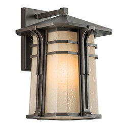 BUILDER - BUILDER North Creek Arts and Crafts/Mission Outdoor Wall Sconce X-ZO77194 - From the North Creek Collection, this Kichler Lighting outdoor wall sconce features a modern blend of clean lines and mission influencing for a unique look. The warm tones of the Olde Bronze finish compliment the light umber etched seedy glass shade for a soft and elegant look.