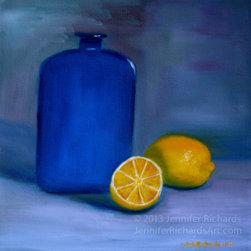 Blue bottles and lemon - fine art oil painting - SOLD