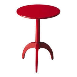 Butler Specialty - Butler Burbank Red Accent Table - This spicy little red pedestal table will make you smile every time you walk into a room. Crafted from Poplar hardwood solids and wood products, it boasts a slim, tapered pedestal with three sleek legs supporting an understated round top with birch veneer.