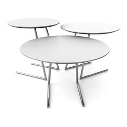 LARA DESIGNS - Cricket Tables designed by Louis A. Lara, White - This 3 piece nesting table set offers a versatile and infinitely configurable solution for the way we live and work today. Great as coffee tables, end tables and most notably a pull-up laptop table that's perfect for browsing or working while lounging on the sofa with the added benefit of returning to the group when not in use. Also perfect for milk and cookies while watching your favorite flick.