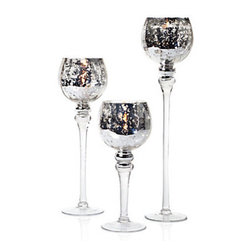 Z Gallerie - Tealight Trio - Fit for royal occasions, our Tea Light Trio dethrones the notion that three is a crowd with its dramatic goblet form and hand-decorated silver leaf that shimmers. These candleholders can carry both tealights and votive cups.    Set of 3        12, 16 & 20