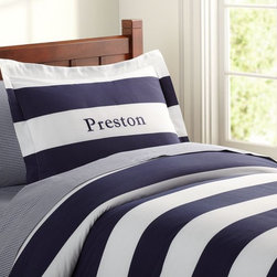 Rugby Stripe Duvet Cover, Navy - Personalized nautical stripes make a great duvet set. I love the color — navy is always OK in my book.