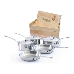 Mauviel M'cook Stainless Steel 8 Piece Cookware Set - The Mauviel M'cook 8 Piece Cookware Set offers professionals and household cooks the highest culinary technology.  Five layers of materials provide perfect conductivity for each product  thanks to fast and uniform heat distribution. The handles are made from cast stainless steel  and reinforce the pure and modern design of this range.  Each piece of Mauviel cookware is handcrafted in France.  Set Includes      1.9 qt Saucepan (5210.17)   1.9 qt Saucepan lid   2.7 qt Saucepan (5210.19)   2.7 qt Saucepan lid   3.4 qt Saute pan with helper handle (5211.25)   3.4 qt Saute pan lid   8 in Round Frying Pan / Skillet (5213.20)   9.5 in Round Frying Pan / Skillet (5213.24)      Product Features      5 ply Construction - High performance cookware  works on all cooking surfaces  including induction   2.6 mm Thickness on all shapes - even heat distribution (fast  uniform  controlled cooking)   Pouring rims on all shapes - eliminates drips when pouring liquids   Handles fixed by sturdy stainless steel rivets   Oversized  cast stainless steel handles - for safe lifting of stew pans  roasters and other large pots.   Professional diameters and heights - M'Cook products have high sides and are designed for both professional and household cooking   Oven safe to 680° F   Dishwasher safe.   Each piece handcrafted in France by Mauviel - manufacturing cookware since 1830   Lifetime guarantee. (Warranty not valid for commercial use)