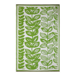Fab Habitat - Indoor/Outdoor Malé Rug, Cream & Green, 3x5 - This pretty all-weather rug is woven from straws made of recycled plastic. Washable and mildew resistant, it's ideal for the patio, the porch, the beach — anywhere you want good looks and easy care. For a change of pace, flip it over and see the vine pattern in reverse. Comes with its own tote bag, for convenient transport or storage.