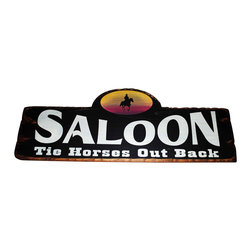 Sleepy's Signs - Cowboy Saloon Rustic Western Wood Sign - Customizable  Saloon  Sign  -  Tie  Horses  Out  Back          Made  from  distressed  wood  and  finished  with  vintage  black,  this  rustic  western  wood  sign  has  white  lettering  and  yellow  design  details.  Great  for  family  bar,  red  room  or  patio,  this  western  style  sign  adds  a  welcoming  note  to  your  d?cor.  Customize  at  no  extra  charge.  Choose  from  our  list  of  sayings  or  go  with  one  of  your  own  making.  Request  customizing  at  time  of  ordering.                  Rustic  Wood  Sign              24  inches  wide  x  5.5  inches  high              Made  in  USA              Allow  4-6  weeks  for  shipping
