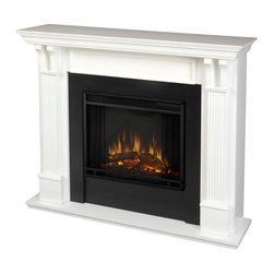 Real Flame - Ashley Indoor Electric Fireplace in White - 1400 Watt heater, rated over 4700 BTUs per hour. Programmable thermostat with display in Fahrenheit or Celsius. Ultra Bright LED technology with 5 brightness settings. Digital readout display with up to 9 hours timed shut off. Dynamic ember effect. Fireplace includes wooden mantel, firebox, screen, and remote control.. Solid wood and veneered MDF construction. 48.03 in. W x 13.78 in. D x 41.25 in. H (107 lbs.)Best selling item! Handsome pillars with curved supports create an understated elegance in any room. The Vivid Flame Electric Firebox plugs into any standard outlet for convenientset up. The features include remote control, programmable thermostat, timer function, brightness settings and ultra bright Vivid Flame LED technology.