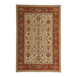 Frontgate - Nottingham Area Rug - Fine 100% virgin wool. Richly dyed. Sturdy cotton backing. Long-lasting durability. Styles of sizes may vary slightly. Our Nottingham Rug provides beautifully plush coverage ideal for most rooms within your home. Wonderfully hand-hooked, these pieces will enliven and enrich existing decor with their style and verve.  .  .  .  .  . Shown in Ivory with Red Border.
