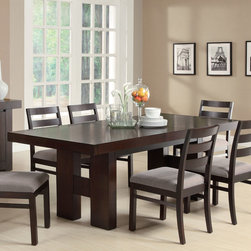 Coaster - Dabny Collection Dining Table in Cappuccino - This transitional dining table made of ash solids and hardwoods in cappuccino finish provides easy-going style to your casual or semi-formal dining room. The modern table features clean lines with the substantial H-form double pedestal bases. The pull out extension leaf enhances the versatility of this table so it adjusts to the size you need, no matter the occasion. Complete seating with the ladder-back chairs.