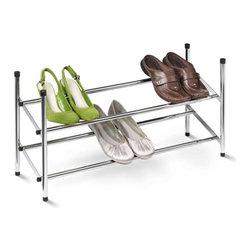 Expandable Shoe Rack, Chrome - Dimensions:  45.25 in l x 9 in w x 14 in h (114.9 cm l x 22.9 cm w x 35.6 cm h)