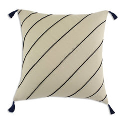 Chooty & Co. - Chooty and Co Duck Cross Stripe Corded D-Fiber Pillow with Tassels - Tan / Navy - Shop for Pillows from Hayneedle.com! About Chooty & Co.A lifelong dream of running a textile manufacturing business came to life in 2009 for Connie Garrett of Chooty & Co. This achievement was kicked off in September of '09 with the purchase of Blanket Barons well known for their imported soft as mink baby blankets and equally alluring adult coverlets. Chooty's busy manufacturing facility located in Council Bluffs Iowa utilizes a talented team to offer the blankets in many new fashion-forward patterns and solids. They've also added hundreds of Made in the USA textile products including accent pillows table linens shower curtains duvet sets window curtains and pet beds. Chooty & Co. operates on one simple principle: What is best for our customer is also best for our company.