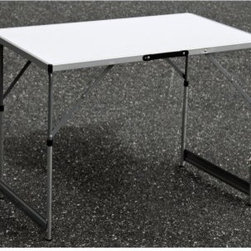 Slim Jim Adjustable Height Aluminum Table - Whether you need a standard table, a standing desk, or a bar, the Slim Jim Adjustable Height Aluminum Table has you covered. This convenient table has four different height settings, a durable aluminum frame, and a lightweight design that folds flat for easy transport.