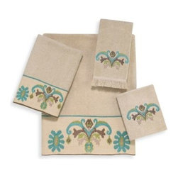 Avanti - Avanti Southwest Tale Bath Towel in Linen - Bring the color and serenity of the Southwest to your bathroom with the Southwest Tale Bath Towel Collection. A lovely design in turquoise and brown tones is embroidered on a beige towel.