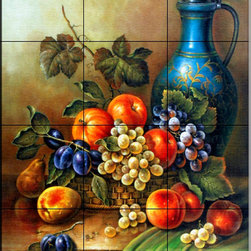 The Tile Mural Store (USA) - Tile Mural - Antique Still Life Iii - Kitchen Backsplash Ideas - This beautiful artwork by Corrado Pila has been digitally reproduced for tiles and depicts a painting of a colorful fruit mural with a vase.  Our kitchen tile murals are perfect to use as part of your kitchen backsplash tile project. Add interest to your kitchen backsplash wall with a decorative tile mural. If you are remodeling your kitchen or building a new home, install a tile mural above your stove top or install a tile mural above your sink. Adding a decorative tile mural to your backsplash is a wonderful idea and will liven up the space behind your cooktop or sink.