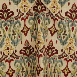 Swavelle - Sandoa Flame Ikat Heavy Upholstery Fabric By The Yard - Sandoa Flame is wonderful ikat upholstery fabric. Soft chenille fabric from Swavelle Mill Creek. 55 inches wide and a vertical repeat of 28 inches and a horizontal repeat of 14 inches.