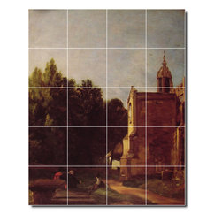 Picture-Tiles, LLC - A Church Porch Tile Mural By John Constable - * MURAL SIZE: 40x32 inch tile mural using (20) 8x8 ceramic tiles-satin finish.