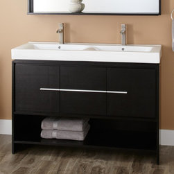"""48"""" Kyra Double Vanity - The 48"""" Kyra Double Vanity maximizes bath storage, while bestowing it with modern style thanks to clean lines and sleek Satin Nickel pulls."""