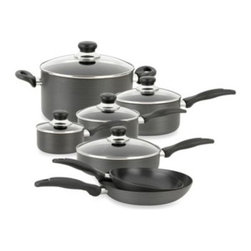 Oneida - Oneida Hard Anodized 12-Piece Cookware Set - This hard anodized cookware set is non-stick for easy cooking and cleaning. Fry pans, sauce pans, saute and stock pot also have spot welded handles for durability, and the pots have clear lids for easy viewing of cooking.