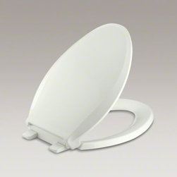 KOHLER - KOHLER Cachet(R) Q2 Advantage(TM) elongated  toilet seat with plastic hinges - With subtle styling, this Cachet seat fits most elongated toilets. This Q2 Advantage seat features innovative technology that makes it easy to install and clean.