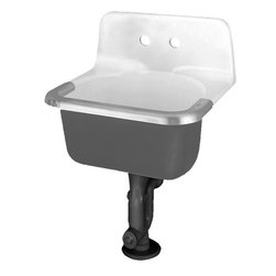 "American Standard - American Standard 7695.008.020 Akron Enameled Cast Iron Service Sink, Chrome - This American Standard 7695.008.020 Akron Enameled Cast Iron Service Sink is part of the Akron collection, and comes in a beautiful White finish. This service sink features an enameled cast iron construction, a glossy porcelain finish, a stainless steel rim, and an ingluded wall-hangar for easy installation. This model has (2) 8"" centered holes on the rim guard."
